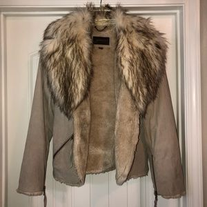 Guess Leather Suede Faux Fur Cream Tan Jacket